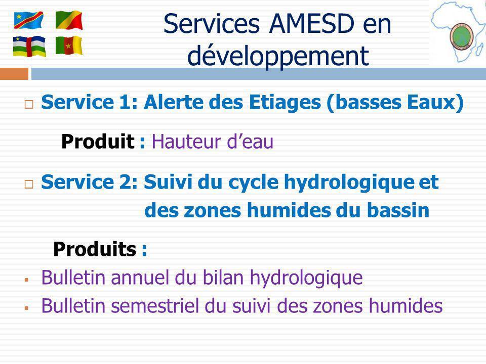 Services AMESD en développement Service 1: Alerte des Etiages (basses Eaux) Produit : Hauteur deau Service 2: Suivi du cycle hydrologique et des zones