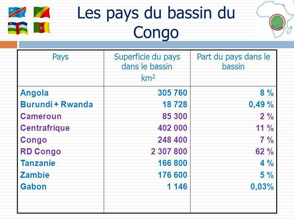 PaysSuperficie du pays dans le bassin km 2 Part du pays dans le bassin Angola Burundi + Rwanda Cameroun Centrafrique Congo RD Congo Tanzanie Zambie Ga