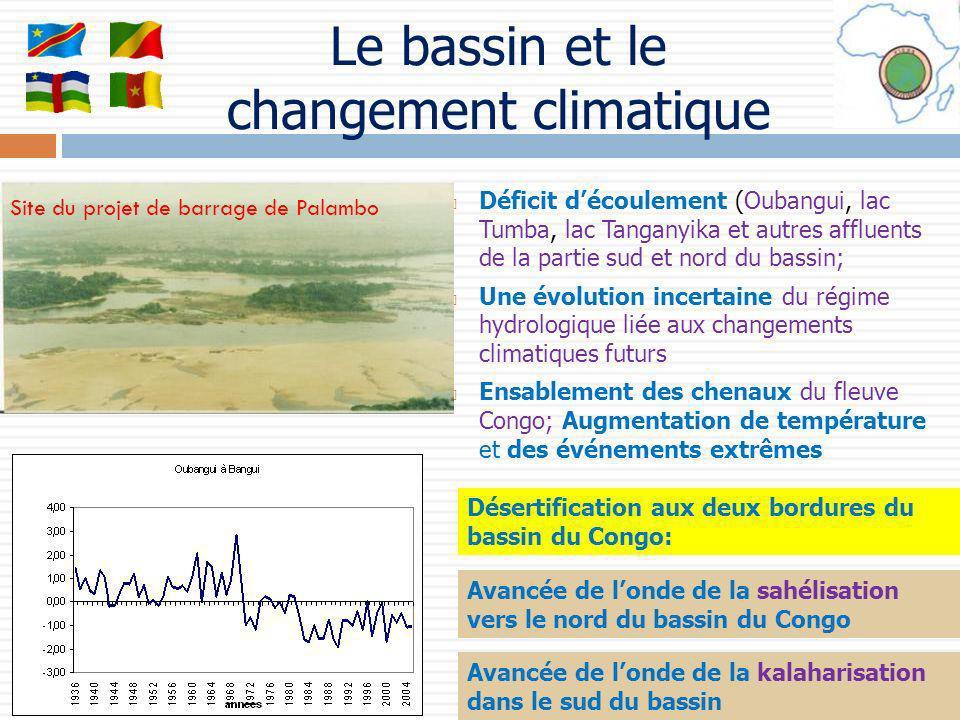 Le bassin et le changement climatique Déficit découlement (Oubangui, lac Tumba, lac Tanganyika et autres affluents de la partie sud et nord du bassin;