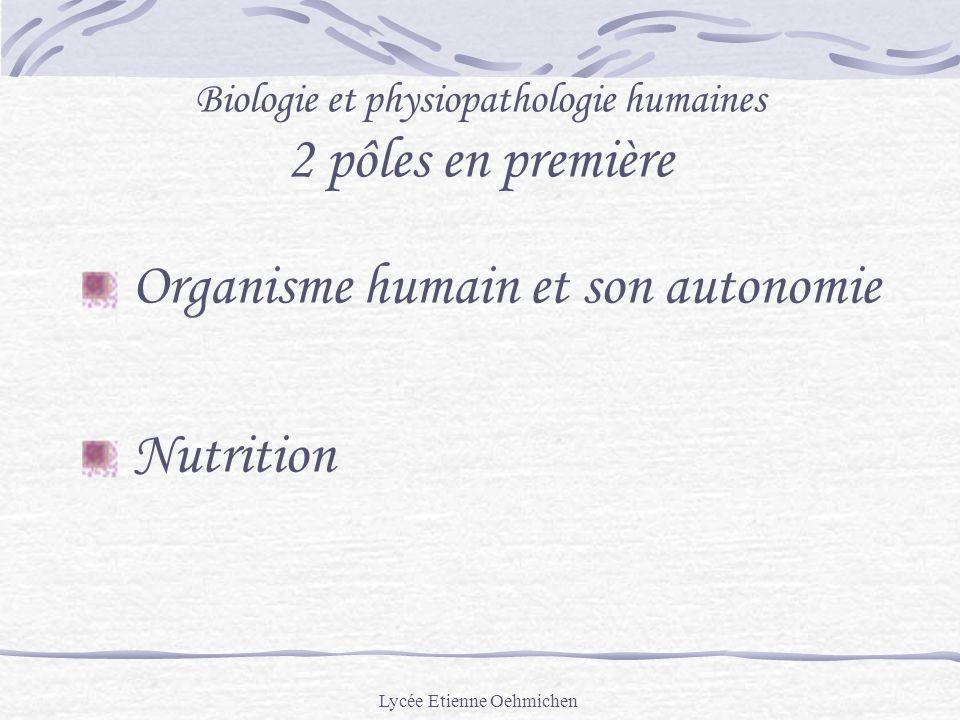 Lycée Etienne Oehmichen Biologie et physiopathologie humaines 2 pôles en première Organisme humain et son autonomie Nutrition