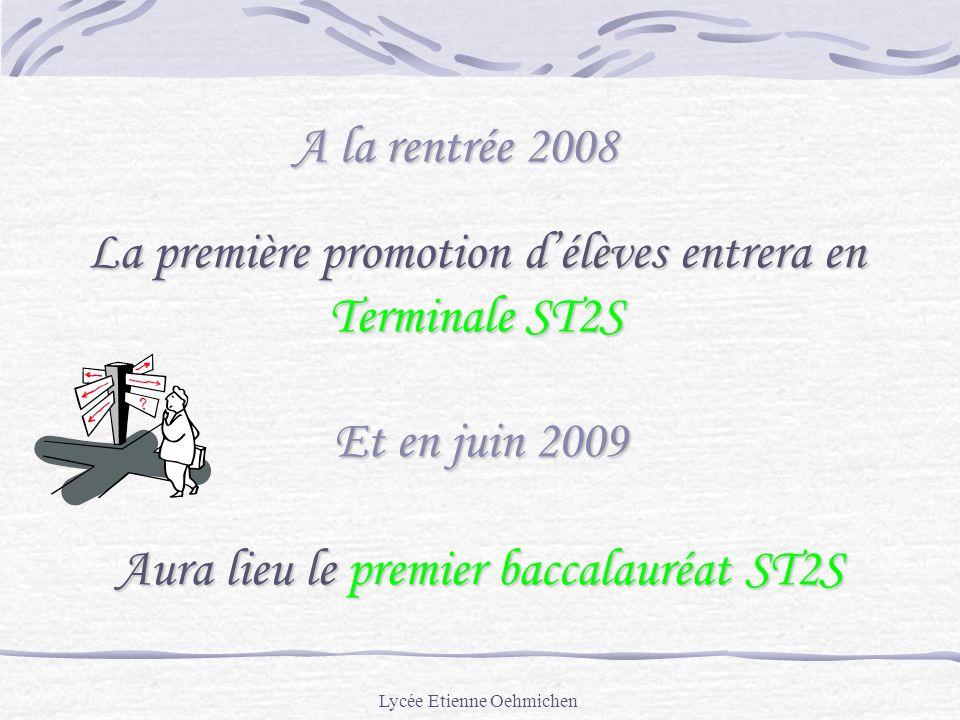 Lycée Etienne Oehmichen A la rentrée 2008 La première promotion délèves entrera en Terminale ST2S Et en juin 2009 Aura lieu le premier baccalauréat ST2S