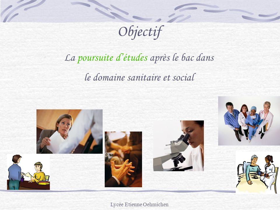 Lycée Etienne Oehmichen Objectif La poursuite détudes après le bac dans le domaine sanitaire et social