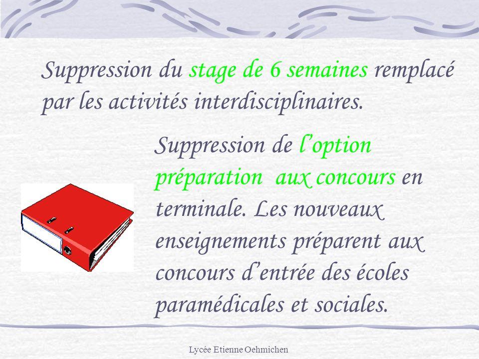 Lycée Etienne Oehmichen Suppression du stage de 6 semaines remplacé par les activités interdisciplinaires.