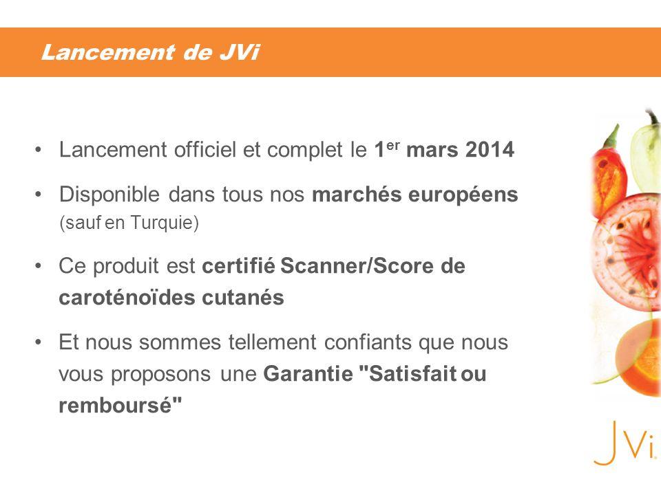 Lancement de JVi Lancement officiel et complet le 1 er mars 2014 Disponible dans tous nos marchés européens (sauf en Turquie) Ce produit est certifié