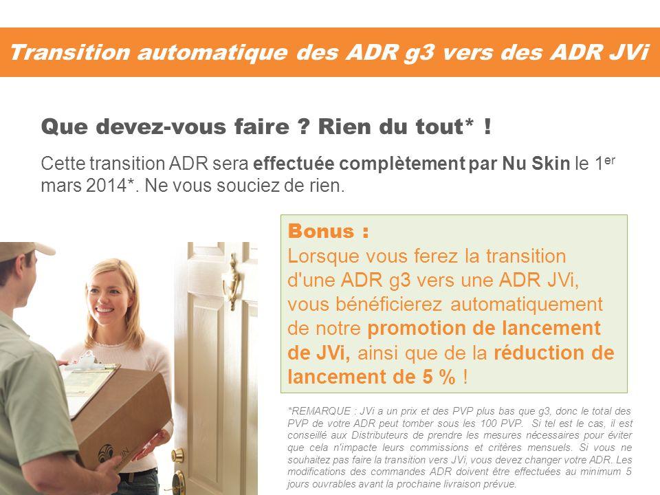Transition automatique des ADR g3 vers des ADR JVi Cette transition ADR sera effectuée complètement par Nu Skin le 1 er mars 2014*. Ne vous souciez de