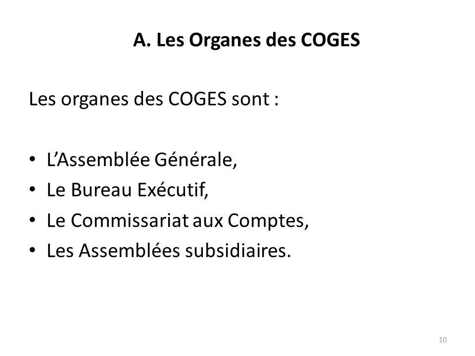 Les organes des COGES sont : LAssemblée Générale, Le Bureau Exécutif, Le Commissariat aux Comptes, Les Assemblées subsidiaires. 10 A. Les Organes des