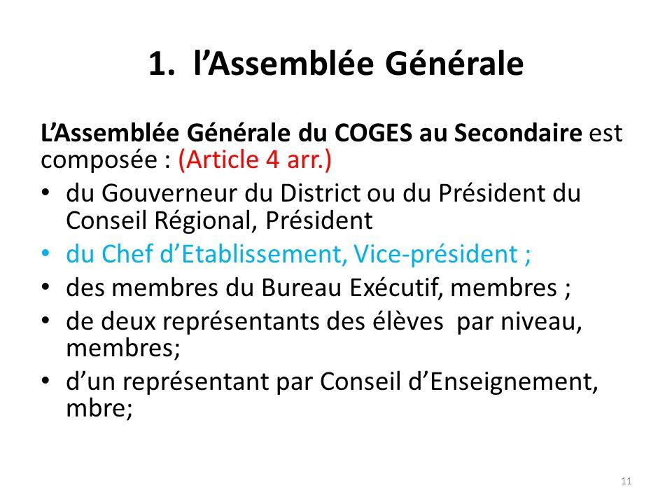 1. lAssemblée Générale LAssemblée Générale du COGES au Secondaire est composée : (Article 4 arr.) du Gouverneur du District ou du Président du Conseil