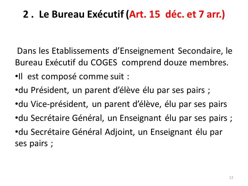 2. Le Bureau Exécutif (Art. 15 déc. et 7 arr.) Dans les Etablissements dEnseignement Secondaire, le Bureau Exécutif du COGES comprend douze membres. I