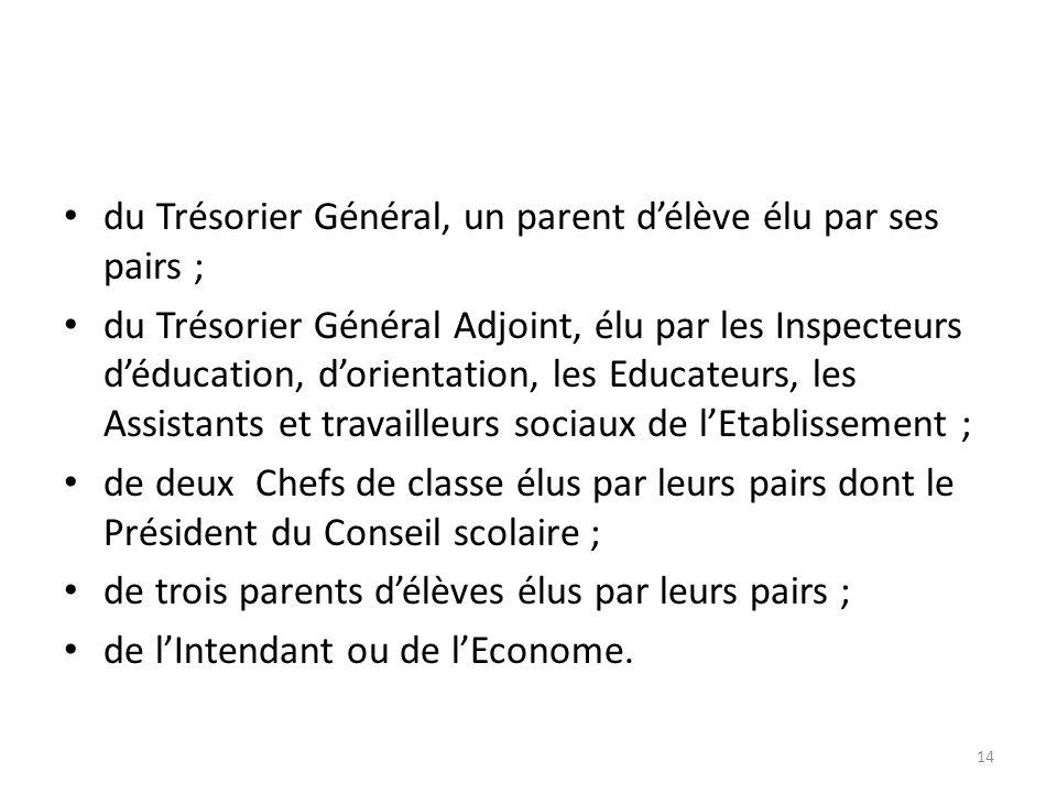 du Trésorier Général, un parent délève élu par ses pairs ; du Trésorier Général Adjoint, élu par les Inspecteurs déducation, dorientation, les Educate