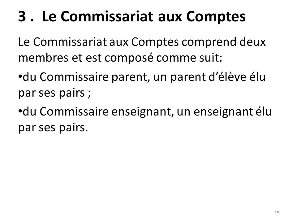 3. Le Commissariat aux Comptes Le Commissariat aux Comptes comprend deux membres et est composé comme suit: du Commissaire parent, un parent délève él