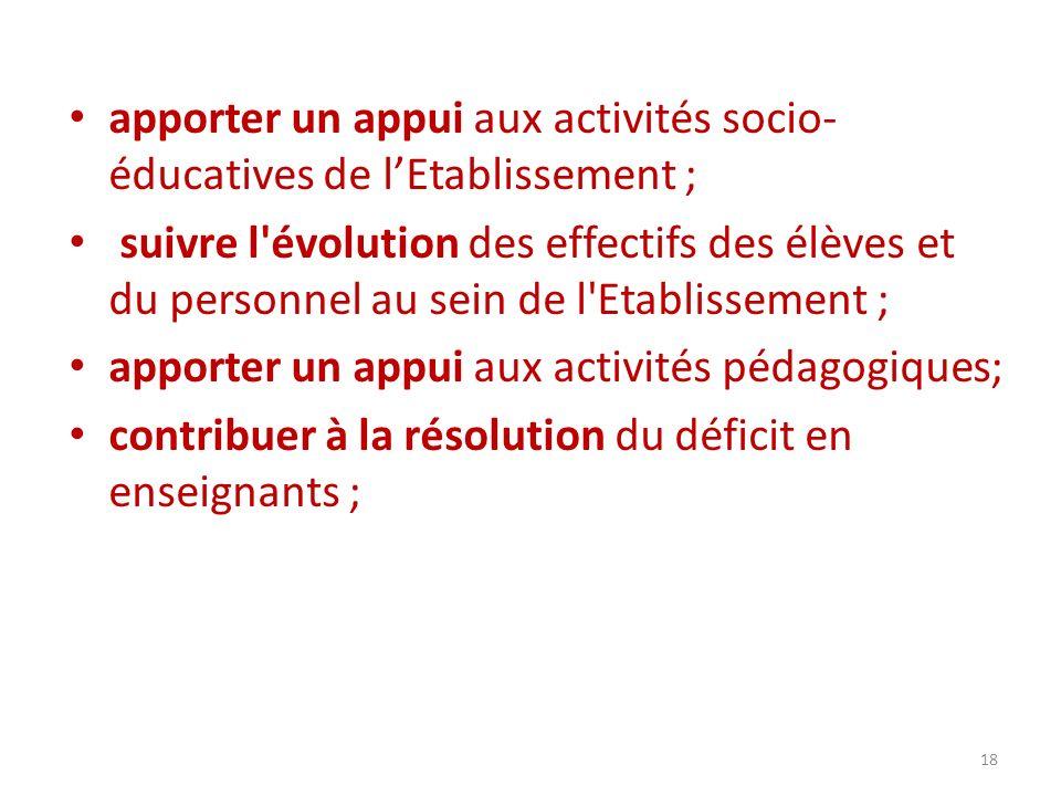 apporter un appui aux activités socio- éducatives de lEtablissement ; suivre l'évolution des effectifs des élèves et du personnel au sein de l'Etablis