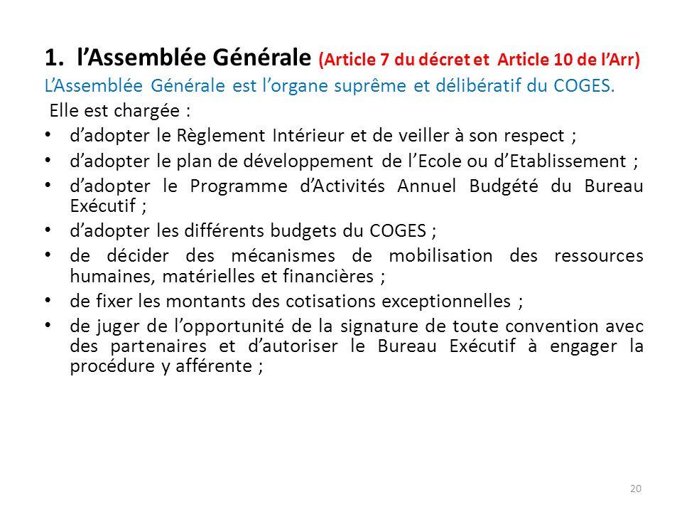 1. lAssemblée Générale (Article 7 du décret et Article 10 de lArr) LAssemblée Générale est lorgane suprême et délibératif du COGES. Elle est chargée :
