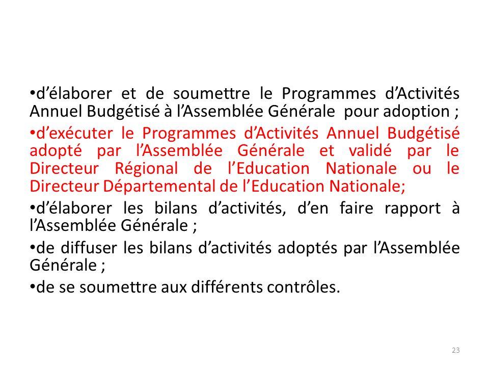 délaborer et de soumettre le Programmes dActivités Annuel Budgétisé à lAssemblée Générale pour adoption ; dexécuter le Programmes dActivités Annuel Bu