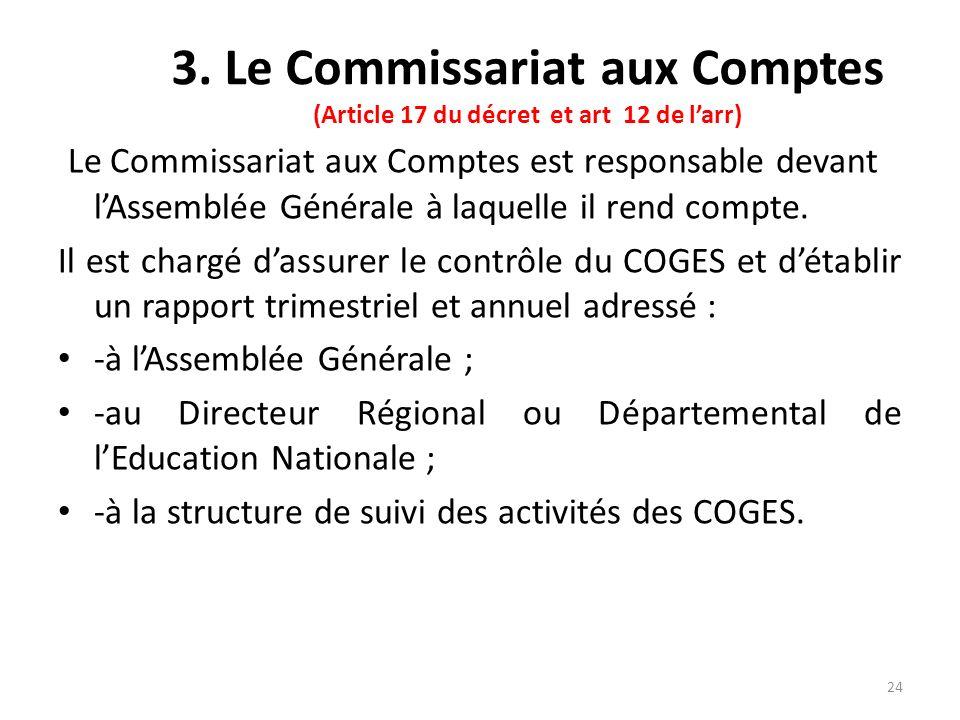 3. Le Commissariat aux Comptes (Article 17 du décret et art 12 de larr) Le Commissariat aux Comptes est responsable devant lAssemblée Générale à laque