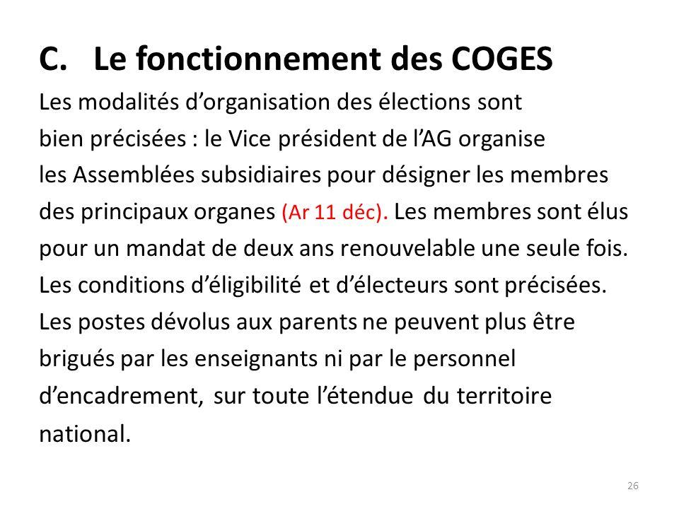 C. Le fonctionnement des COGES Les modalités dorganisation des élections sont bien précisées : le Vice président de lAG organise les Assemblées subsid