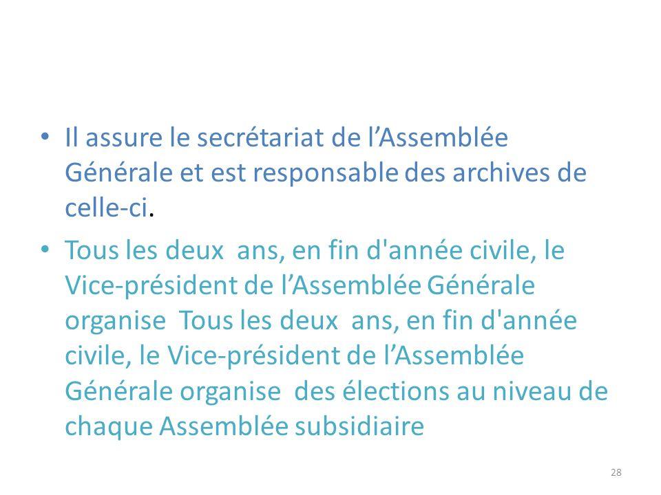 Il assure le secrétariat de lAssemblée Générale et est responsable des archives de celle-ci. Tous les deux ans, en fin d'année civile, le Vice-préside
