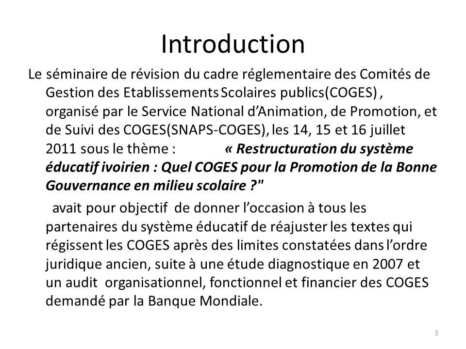 Le séminaire de révision du cadre réglementaire des Comités de Gestion des Etablissements Scolaires publics(COGES), organisé par le Service National d