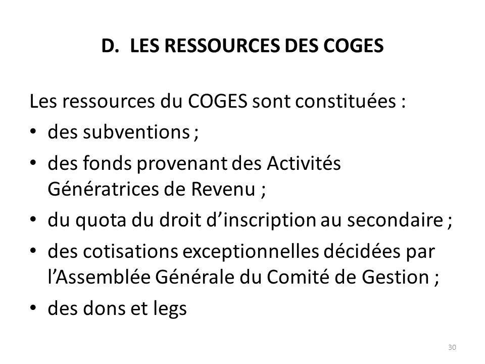 D. LES RESSOURCES DES COGES Les ressources du COGES sont constituées : des subventions ; des fonds provenant des Activités Génératrices de Revenu ; du