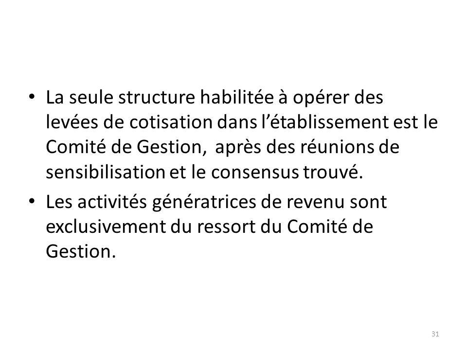 La seule structure habilitée à opérer des levées de cotisation dans létablissement est le Comité de Gestion,après des réunions de sensibilisation et l