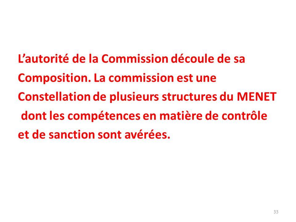 Lautorité de la Commission découle de sa Composition. La commission est une Constellation de plusieurs structures du MENET dont les compétences en mat