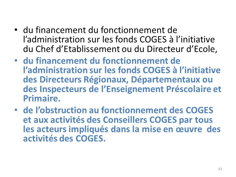 du financement du fonctionnement de ladministration sur les fonds COGES à linitiative du Chef dEtablissement ou du Directeur dEcole, du financement du