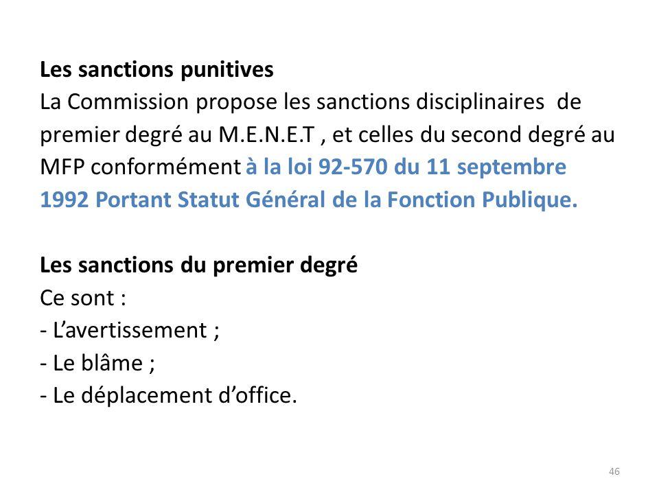 Les sanctions punitives La Commission propose les sanctions disciplinaires de premier degré au M.E.N.E.T, et celles du second degré au MFP conformémen