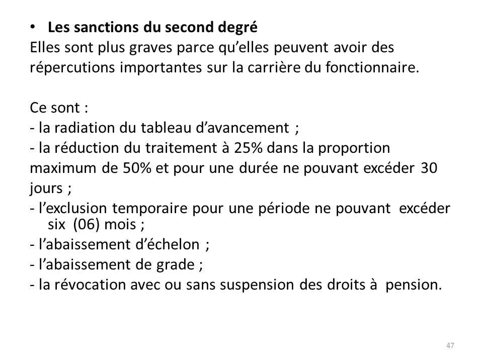 Les sanctions du second degré Elles sont plus graves parce quelles peuvent avoir des répercutions importantes sur la carrière du fonctionnaire. Ce son