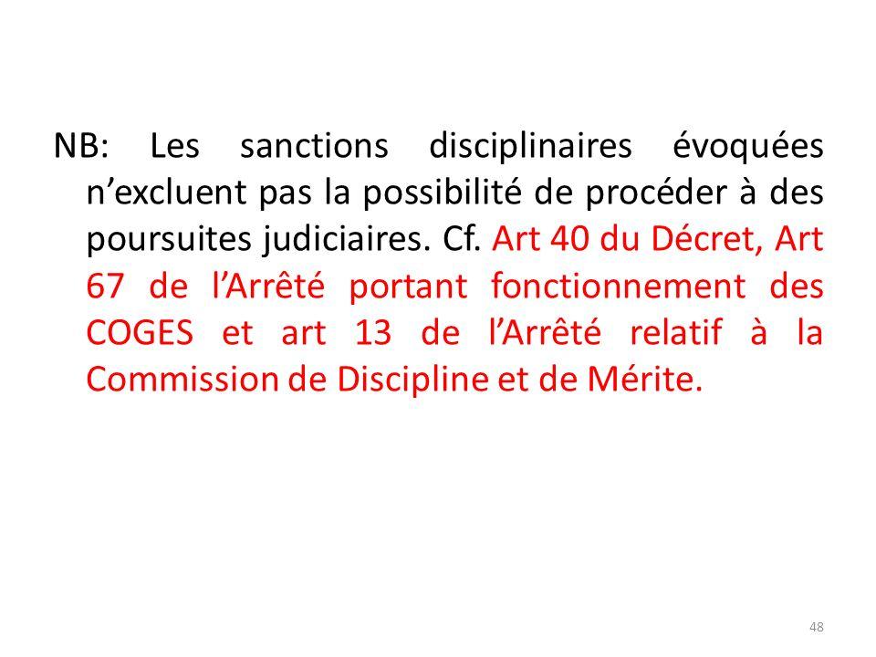NB: Les sanctions disciplinaires évoquées nexcluent pas la possibilité de procéder à des poursuites judiciaires. Cf. Art 40 du Décret, Art 67 de lArrê