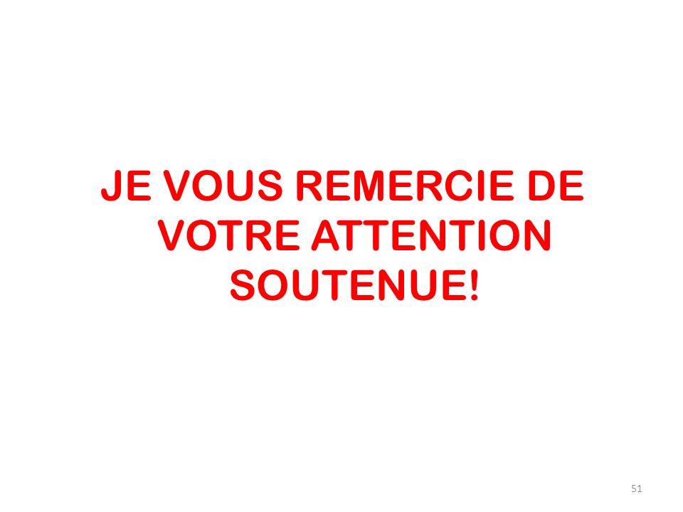 JE VOUS REMERCIE DE VOTRE ATTENTION SOUTENUE! 51