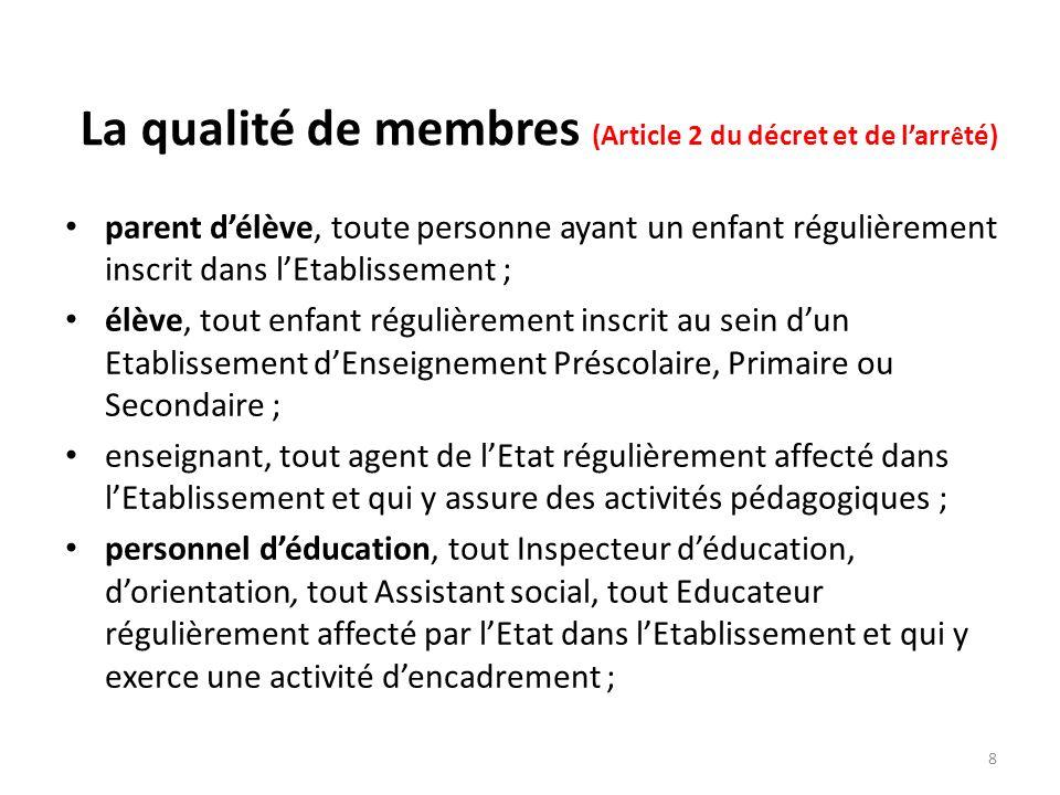 La qualité de membres (Article 2 du décret et de larr ê té) parent délève, toute personne ayant un enfant régulièrement inscrit dans lEtablissement ;