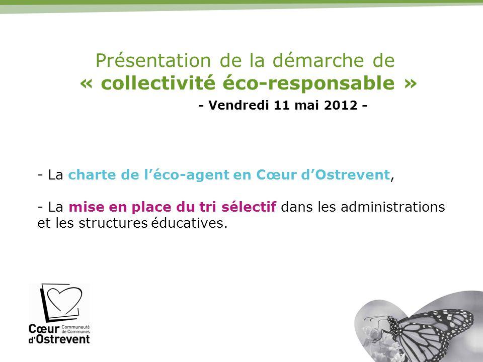 Présentation de la démarche de « collectivité éco-responsable » - Vendredi 11 mai 2012 - - La charte de léco-agent en Cœur dOstrevent, - La mise en pl