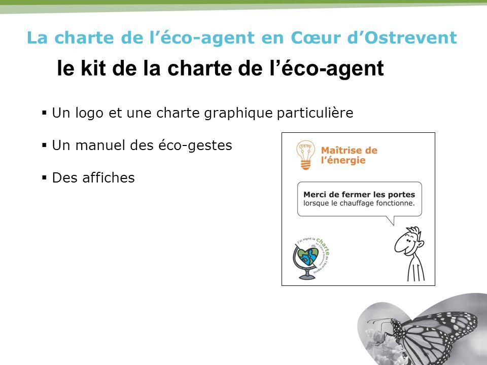 La charte de léco-agent en Cœur dOstrevent le kit de la charte de léco-agent Un logo et une charte graphique particulière Un manuel des éco-gestes Des