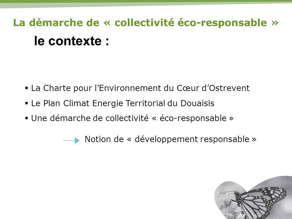le contexte : La Charte pour lEnvironnement du Cœur dOstrevent Le Plan Climat Energie Territorial du Douaisis Une démarche de collectivité « éco-respo