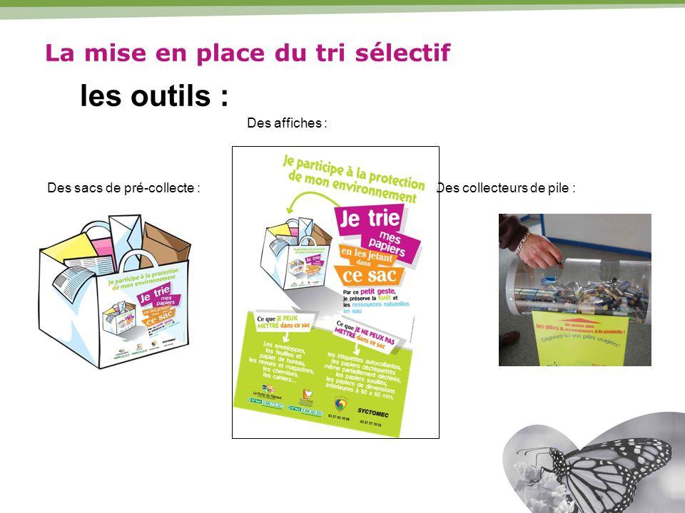 Des sacs de pré-collecte : Des affiches : Des collecteurs de pile : La mise en place du tri sélectif les outils :