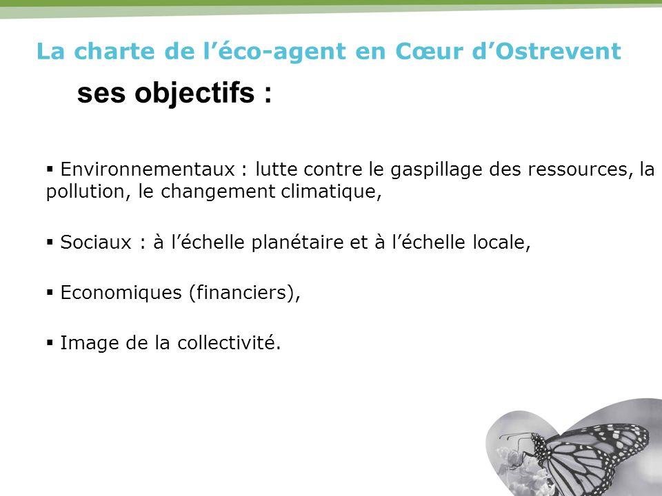 La charte de léco-agent en Cœur dOstrevent ses objectifs : Environnementaux : lutte contre le gaspillage des ressources, la pollution, le changement c