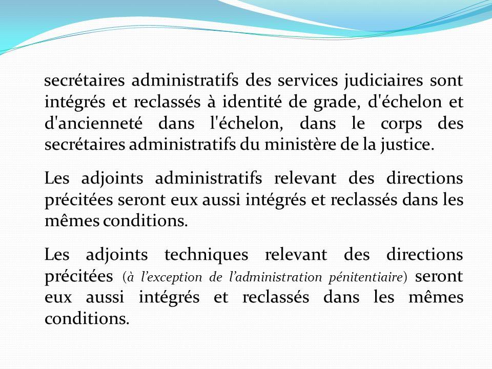 secrétaires administratifs des services judiciaires sont intégrés et reclassés à identité de grade, d échelon et d ancienneté dans l échelon, dans le corps des secrétaires administratifs du ministère de la justice.