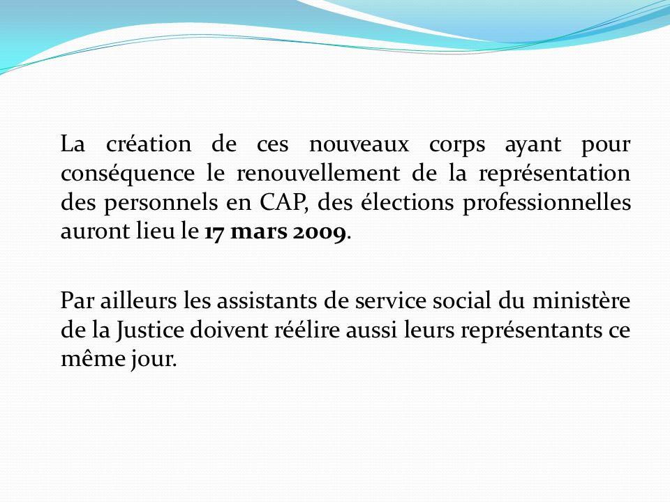 La création de ces nouveaux corps ayant pour conséquence le renouvellement de la représentation des personnels en CAP, des élections professionnelles auront lieu le 17 mars 2009.
