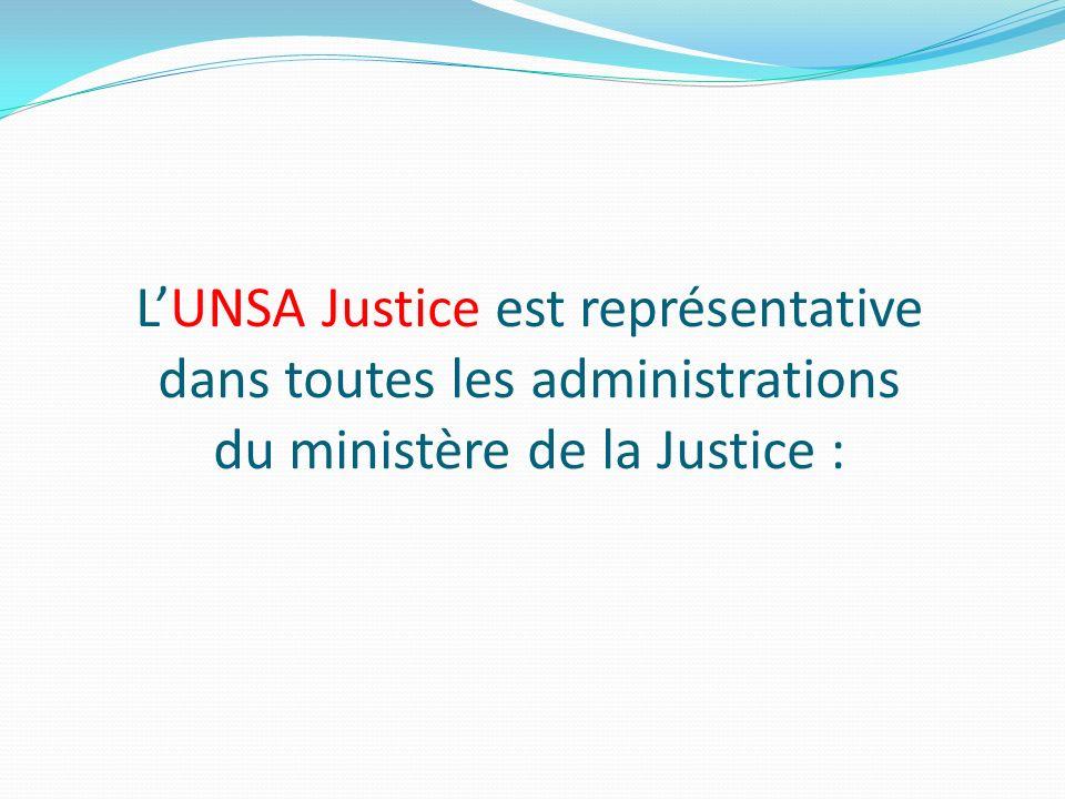 LUNSA Justice est représentative dans toutes les administrations du ministère de la Justice :