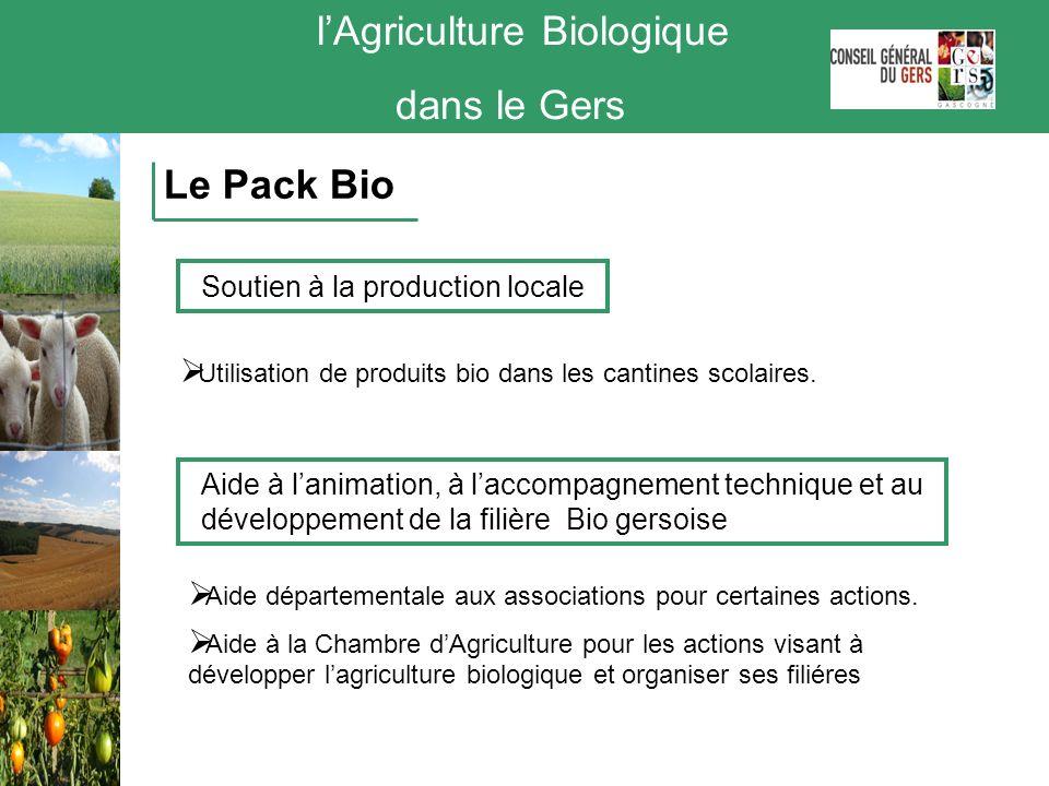 lAgriculture Biologique dans le Gers Le Pack Bio Soutien à la production locale Utilisation de produits bio dans les cantines scolaires. Aide à lanima