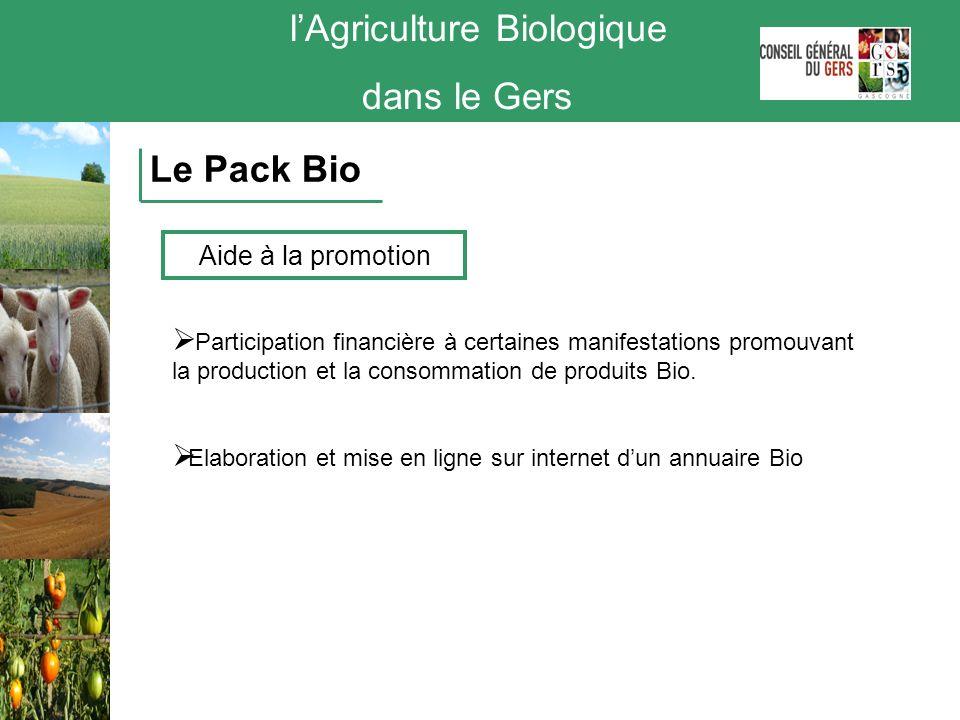 lAgriculture Biologique dans le Gers Le Pack Bio Participation financière à certaines manifestations promouvant la production et la consommation de pr