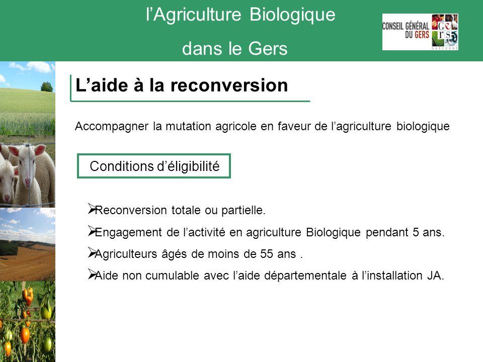 lAgriculture Biologique dans le Gers Laide à la reconversion Accompagner la mutation agricole en faveur de lagriculture biologique Conditions déligibi