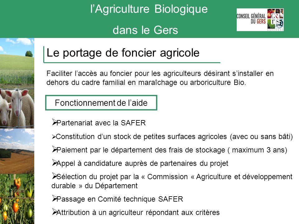 Partenariat avec la SAFER Constitution dun stock de petites surfaces agricoles (avec ou sans bâti) Paiement par le département des frais de stockage (