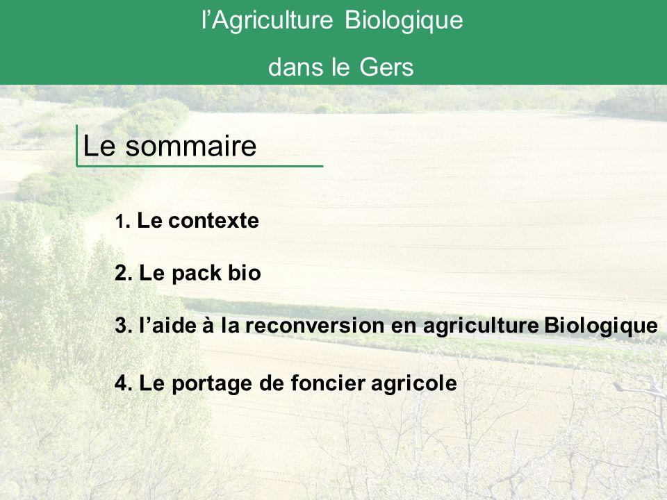 lAgriculture Biologique dans le Gers Le contexte France : 845 440 ha en agriculture Bio (3% de la SAU, + 25% par rapport à 2009) : 22 594 exploitations engagées (4% des exploitations françaises,+ 55% par rapport à 2008) (Source Agence BIO,2011)