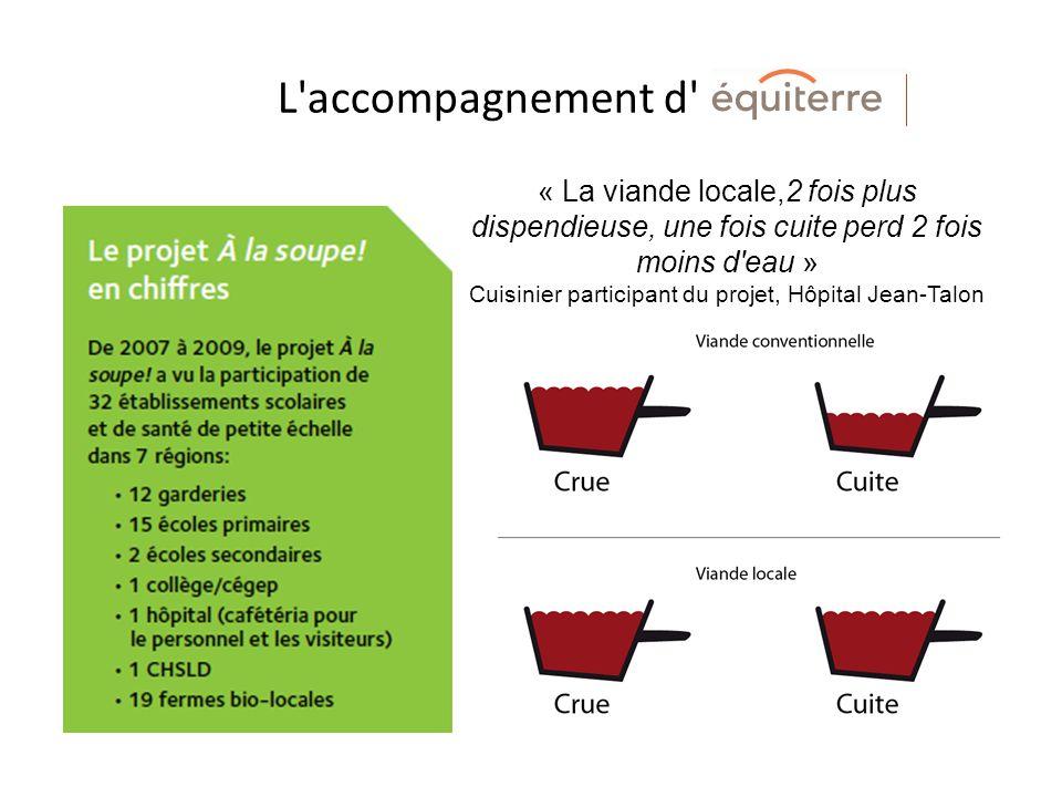 L accompagnement d « La viande locale,2 fois plus dispendieuse, une fois cuite perd 2 fois moins d eau » Cuisinier participant du projet, Hôpital Jean-Talon