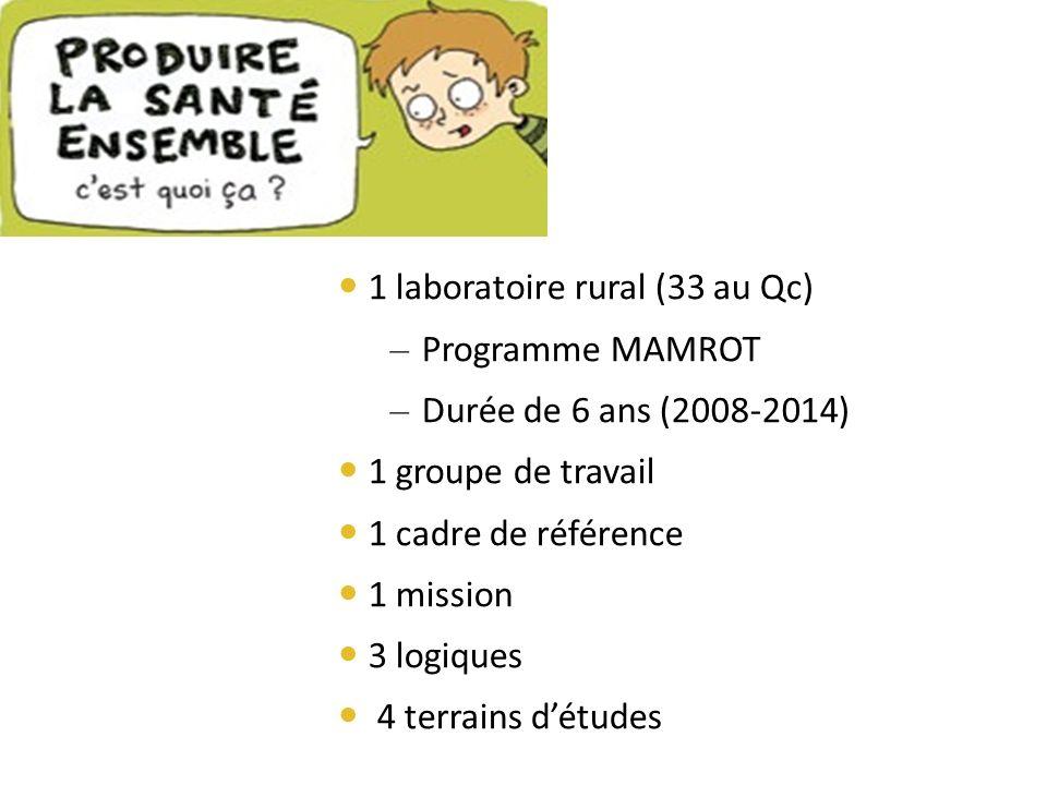 1 laboratoire rural (33 au Qc) – Programme MAMROT – Durée de 6 ans (2008-2014) 1 groupe de travail 1 cadre de référence 1 mission 3 logiques 4 terrains détudes