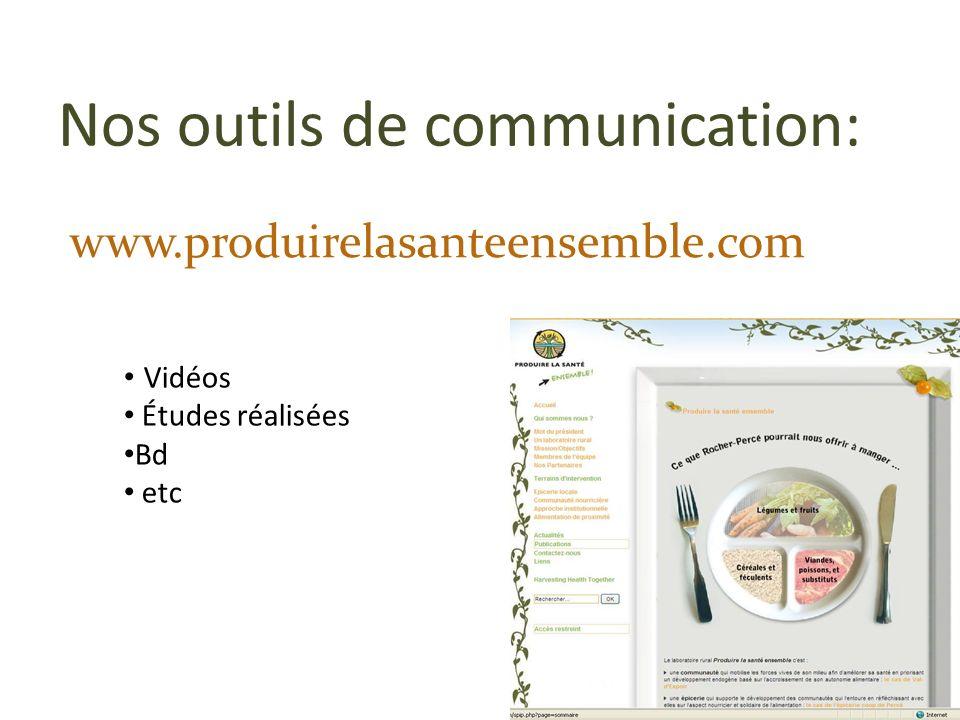 Nos outils de communication: www.produirelasanteensemble.com Vidéos Études réalisées Bd etc
