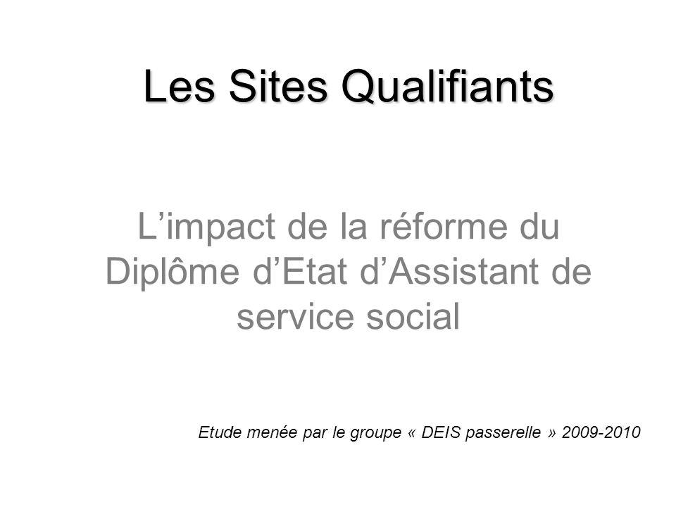 Les Sites Qualifiants Les Sites Qualifiants Limpact de la réforme du Diplôme dEtat dAssistant de service social Etude menée par le groupe « DEIS passe