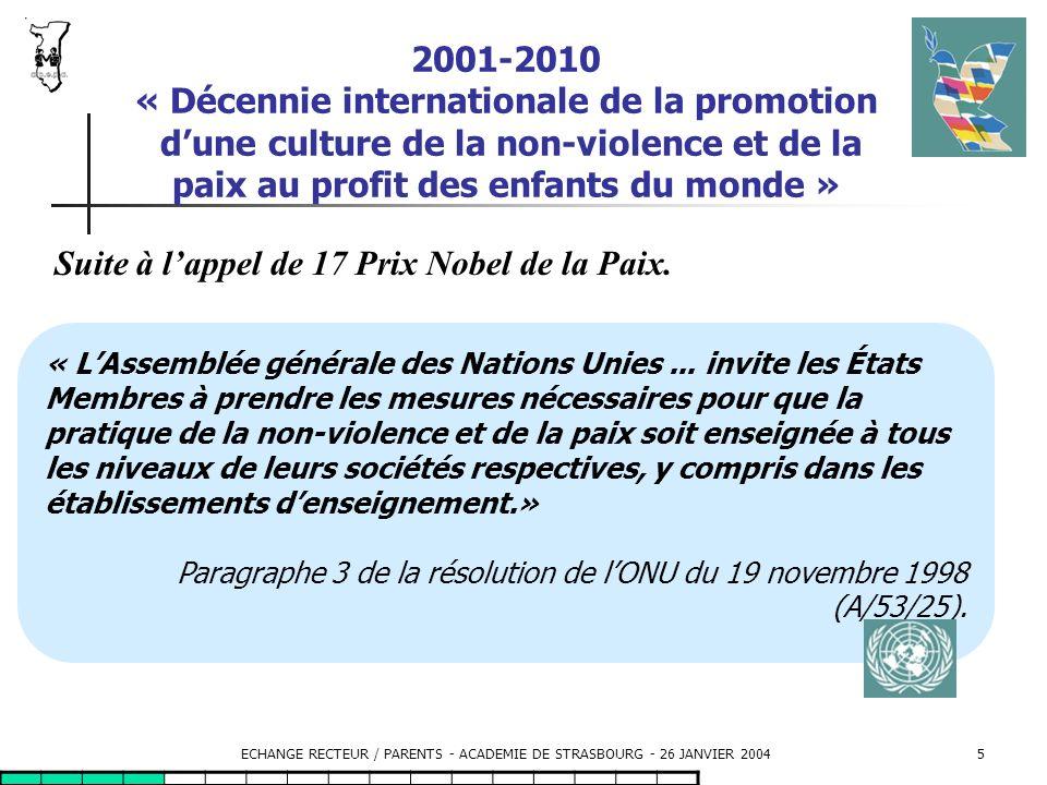 ECHANGE RECTEUR / PARENTS - ACADEMIE DE STRASBOURG - 26 JANVIER 200416 Le partenariat éducatif : promouvoir la coopération éducative de tous les partenaires en saisissant les élus.