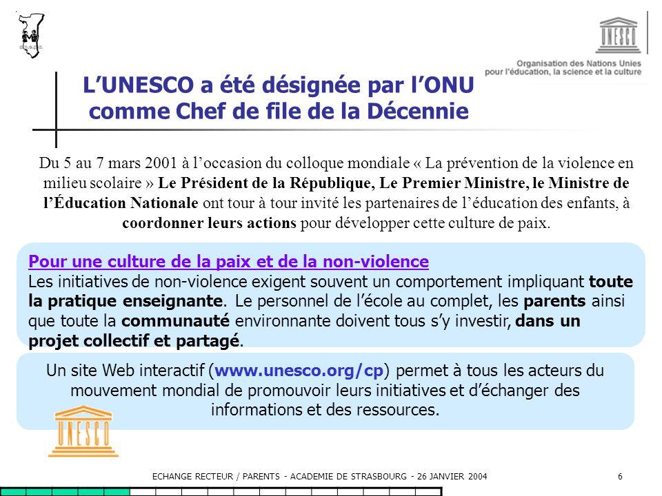 ECHANGE RECTEUR / PARENTS - ACADEMIE DE STRASBOURG - 26 JANVIER 200417 L accès de tous les adultes, travaillant sur un site scolaire, à une formation à la gestion des conflits.