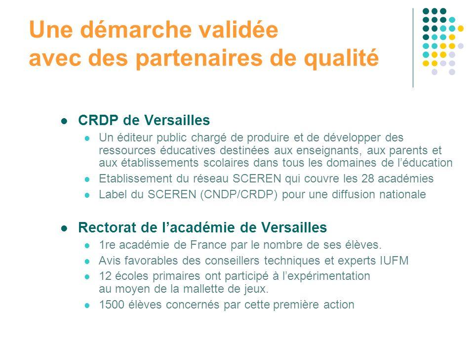 Une démarche validée avec des partenaires de qualité CRDP de Versailles Un éditeur public chargé de produire et de développer des ressources éducative